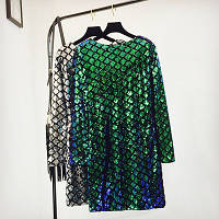 Женское нарядное платье с пайетками в ромбик зеленое, фото 1