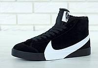 Зимние кроссовки Nike Blazer Winter реплика ААА+ (нат. замша с мехом) размер 42-45 черный (живые фото), фото 1