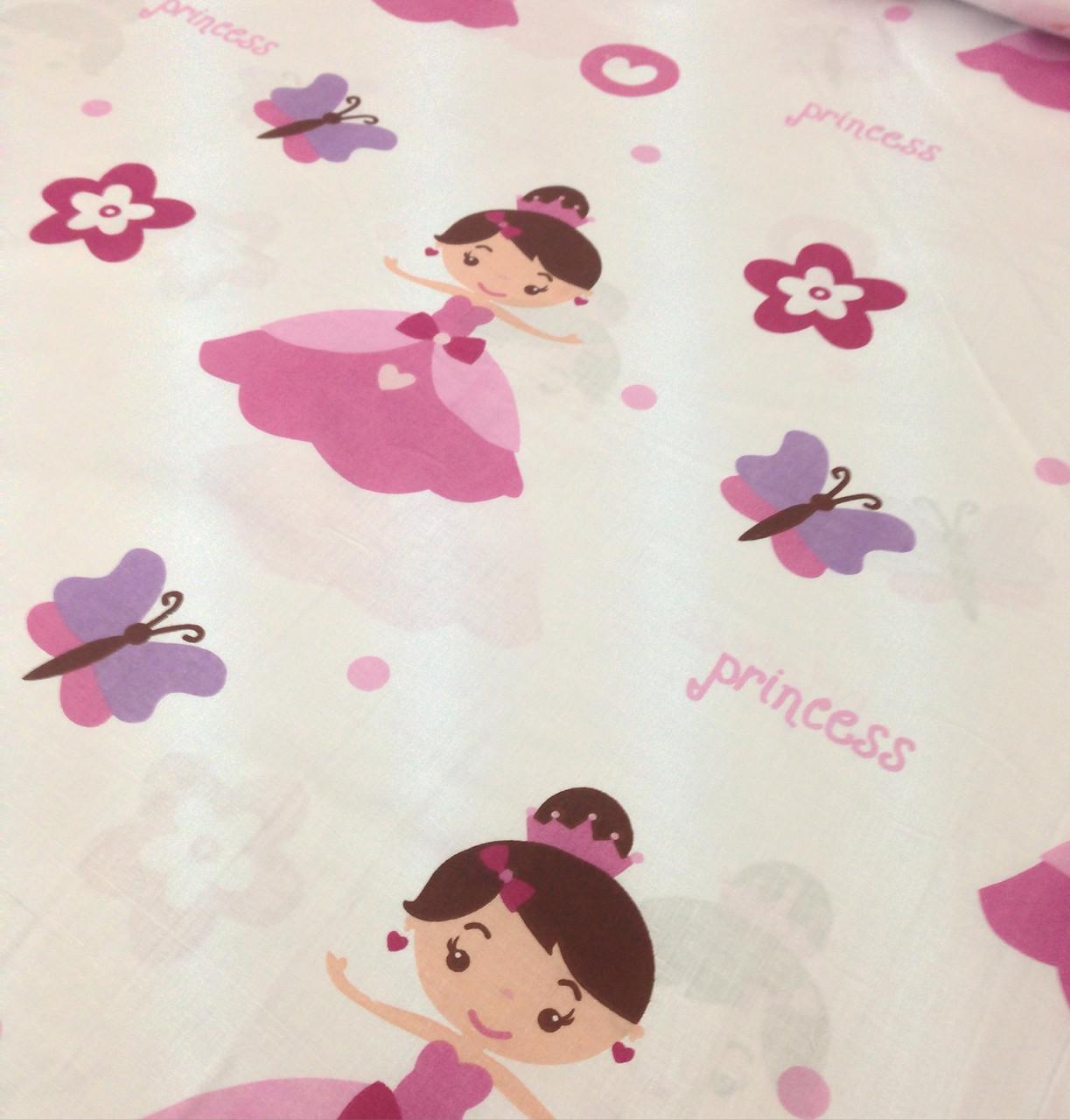 Хлопковая ткань польская розовая принцесса на белом ОТРЕЗ (размер 1*1,6 м) Уценка