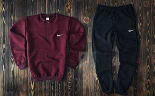 Зимний мужской спортивный костюм Nike бордовый верх черный низ
