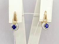 Золотые серьги с синим корундом и фианитами. Артикул 700163-СКСФ, фото 1
