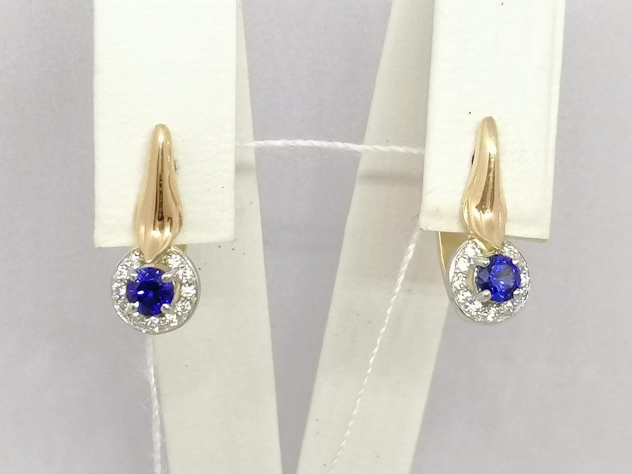 Золотые серьги с синим корундом и фианитами. Артикул 700163-СКСФ