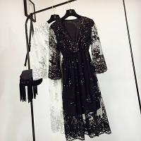 Женское длинное платье из органзы с пайетками черное