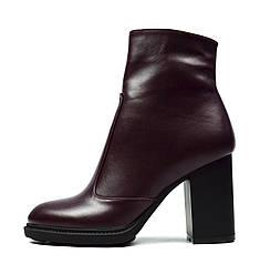 Бордовые женские зимние кожаные ботинки на каблуку PRIDE на меху ( шерсть )