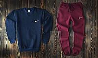 Теплый мужской спортивный костюм Найк темно синий с красным XL