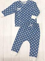 """Детский набор из двух предметов распашонка с штанишками"""" Горошек на синем"""""""