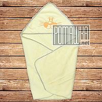 Детское махровое полотенце уголок с капюшоном уголком для купания новорожденных 80х78 см 4556 Лимонный