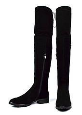 Черные зимние женские замшевые ботфорты ARI ANDANO на меху ( шерсть, европейка )