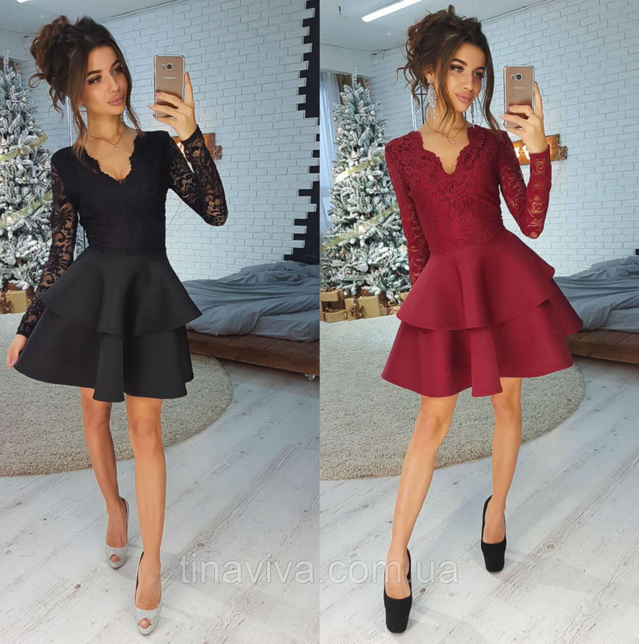 """Стильное женское платье с пышной юбкой (жіноче плаття ) """"Стори"""" 4 цвета"""