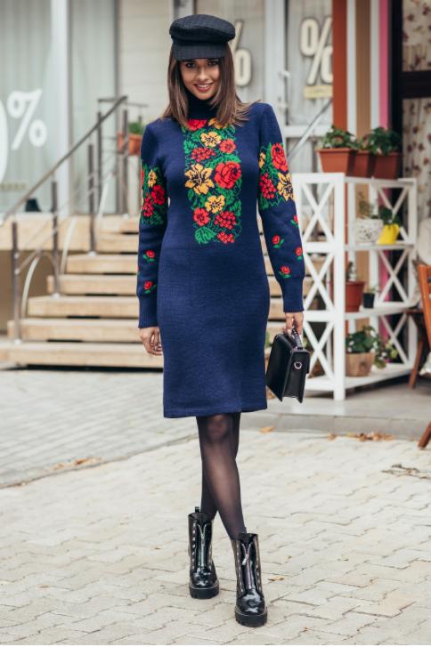 Платье машинная вязка - Рябина