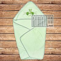 Детское махровое полотенце уголок с капюшоном уголком для купания новорожденных 80х78 см 4556 Салатовый
