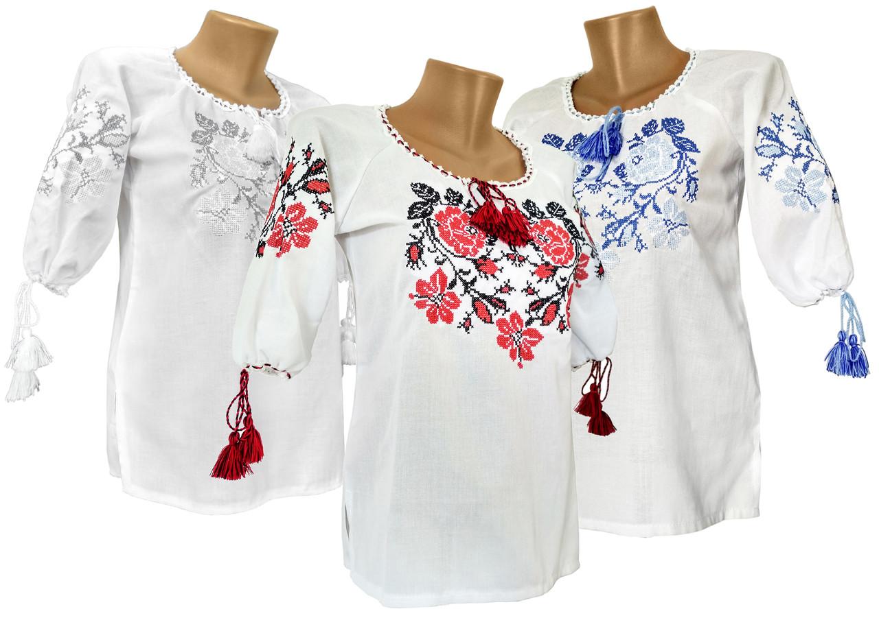 Вишита сорочка для дівчинки із квітковим орнаментом та рукавом 3/4, фото 1