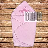 Детское махровое полотенце уголок с капюшоном уголком для купания новорожденных 80х78 см 4556 Розовый