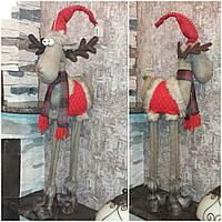 Новогодний олень на длинных ногах, ручная работа, выс. 85 см., 850/750 (цена за 1 шт. + 100 гр.)