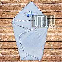 Детское махровое полотенце уголок с капюшоном уголком для купания новорожденных 80х78 см 4556 Голубой