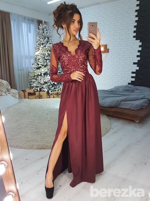 ec777a027b0 Платье вечернее в пол кружевной верх с декольте и глубоким разрезом Sms2888  - Shoppingood в Харькове