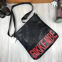 Новинка женская сумка планшетка Bikkembergs черная прессованная кожа через плечо Биккембергс премиум реплика