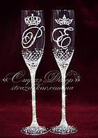 Свадебные бокалы с инициалами и коронами в стразах (Классик)