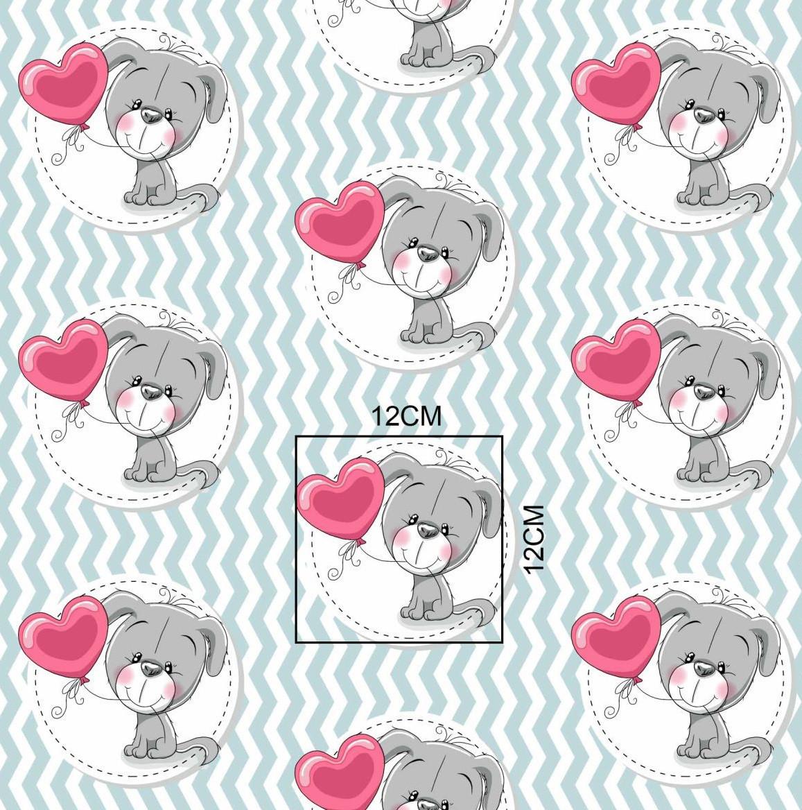 Хлопковая ткань польская щенок с шариком-сердечком на мятном зигзаге отрез (размер 0,95*1,6 м)