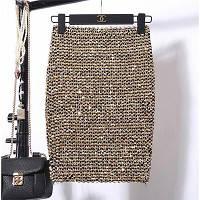 Женская бандажная юбка карандаш с пайетками золотая, фото 1