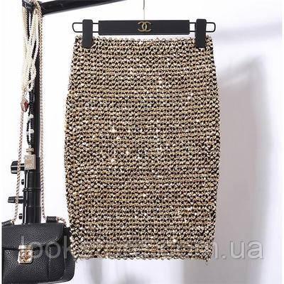 Женская бандажная юбка карандаш с пайетками золотая
