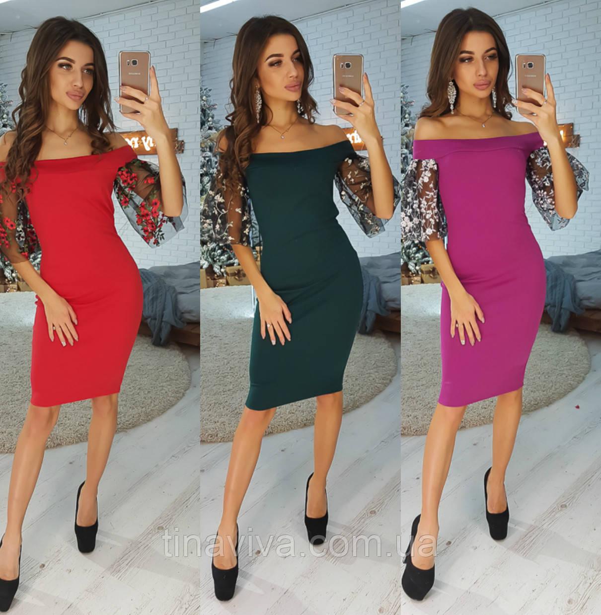 """Стильное женское платье с кружевными рукавами (жіноче плаття ) """"Хелен"""" 4 цвета"""