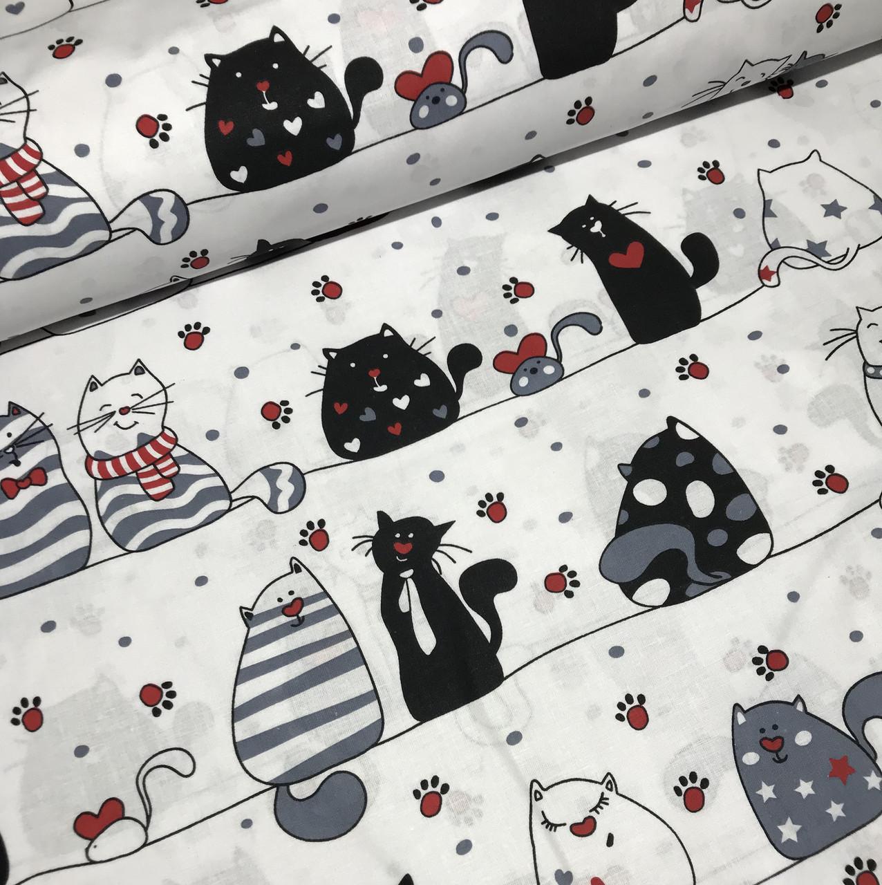 Хлопковая ткань польская коты черные с красным на полоске отрез (размер 1,0*1,6 м)