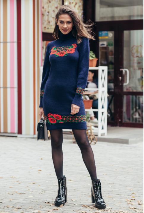 Женское платье вязка - Веночек
