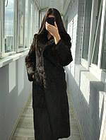 Женская Длинная Шуба из натурального меха кролика шоколад р.СМ