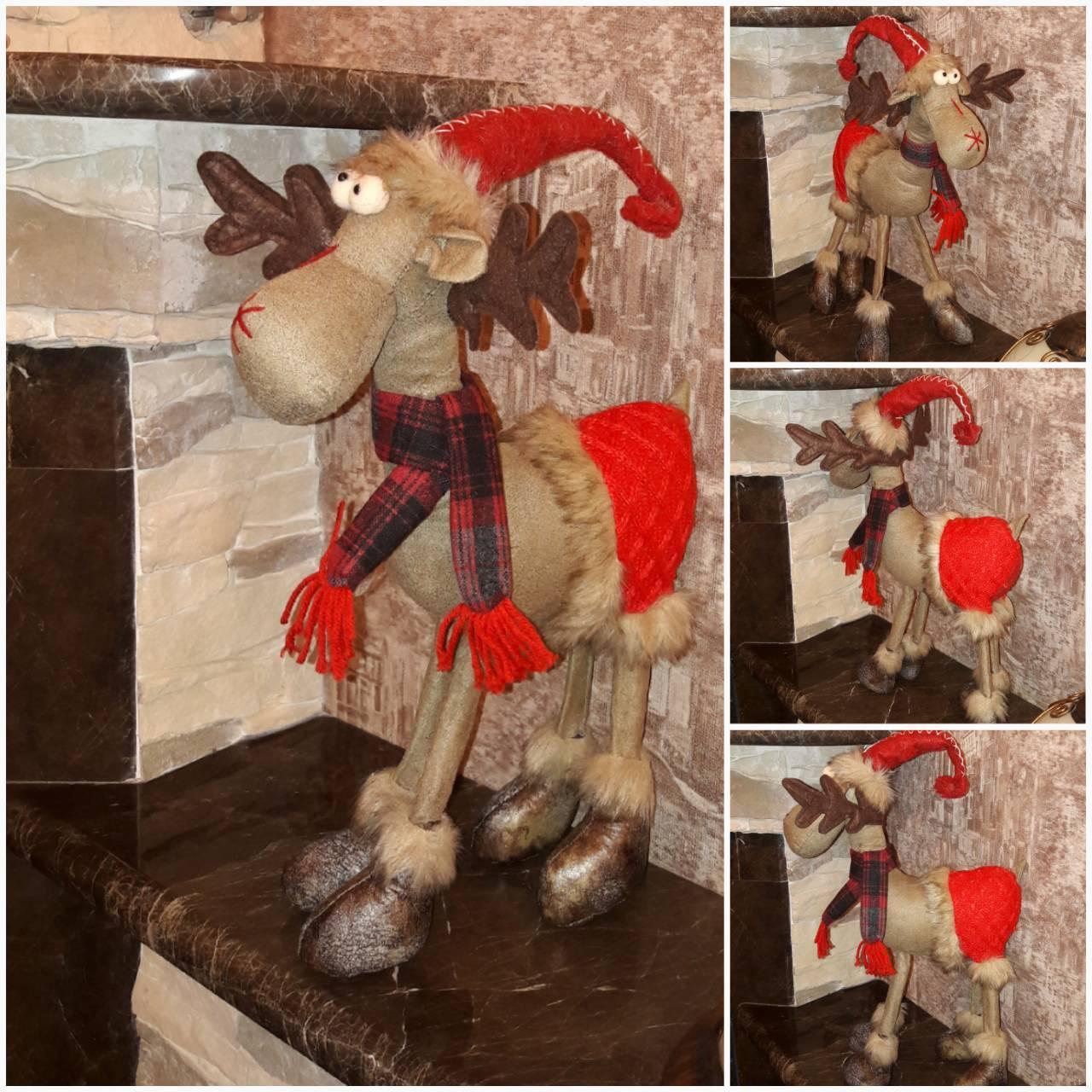 Новогодний олень на 4 ногах и с шарфом, авторская работа, выс. 50 см., 470/420 (цена за 1 шт. + 50 гр.)