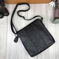 Фирменная женская сумка-планшетка Bikkembergs черная кожаная сумка планшет через плечо Биккемберг реплика