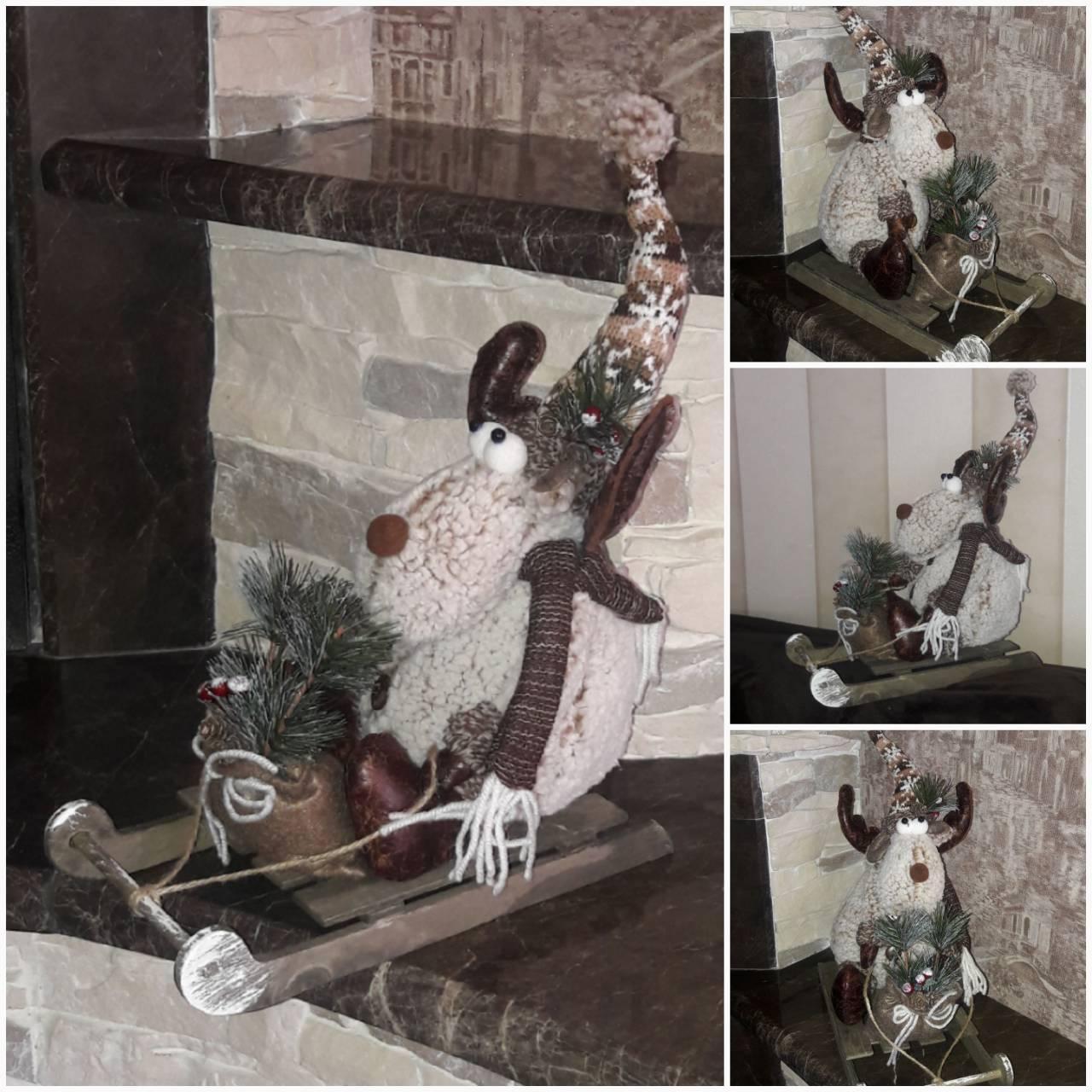 Праздничный олень в санках, авторская ручная работа, выс. 35 см., 590/520 (цена за 1 шт. + 70 гр.)