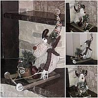 Праздничный олень в санках, авторская ручная работа, выс. 35 см., 590/520 (цена за 1 шт. + 70 гр.), фото 1