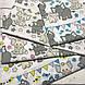 Хлопковая ткань польская слоники с треугольными флажками серо-желто-бирюзовые отрез (размер 1,25*1,6 м), фото 4