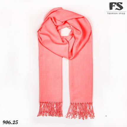 Шерстяной стильный шарф из пашмины цвет Розовый неон, фото 2