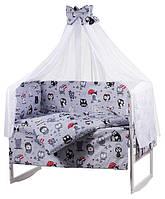 """Детское постельное белье """"Совы с зонтиком"""" серые, комплект 9 предметов!, фото 1"""
