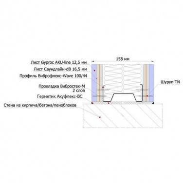 Звукоизоляционная каркасная перегородка на каркасе 100 мм, фото 2