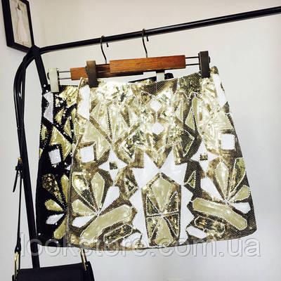Женская юбка Geometria с пайетками и бисером золотая