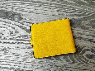 Портмоне стандарт кожаное лимонного цвета, фото 2