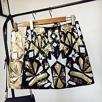 Женская юбка Geometria с пайетками и бисером черная, фото 1