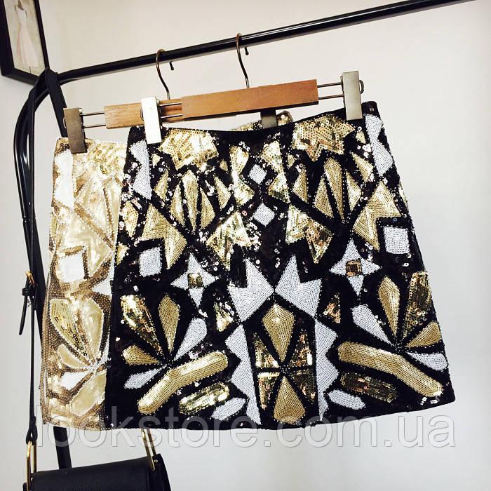 Женская юбка Geometria с пайетками и бисером черная