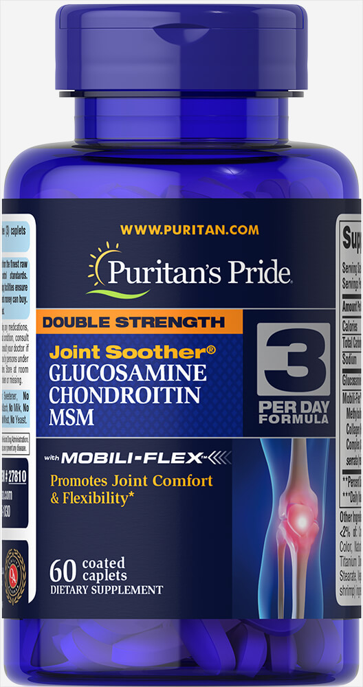 Puritan's Pride Double Strength Glucosamine, Chondroitin & MSM 60 caplets