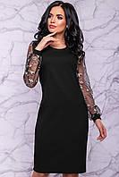 Классическое Прямое Платье до Колена с Красивейшим Гипюровым Рукавом Черное M-2XL