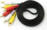 Кабель Audio-Video 3хRCA (папа) 3хRCA (папа), GOLD connector, CU, круглый, Black, 3,0 м, (Пакет) Q300