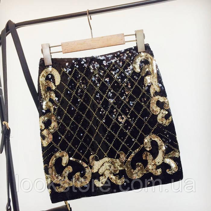 Женская юбка с узорами и пайетками и бисером черно-золотая