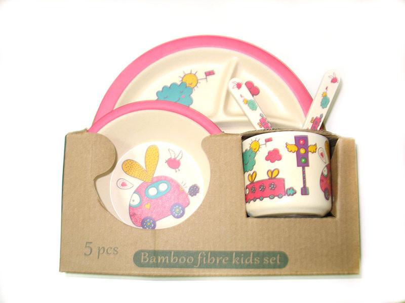 Набор детской бамбуковой посуды Eco Bamboo fibre kids set 5 предметов N02330 вишневый