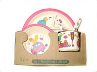 Набор детской бамбуковой посуды Eco Bamboo fibre kids set 5 предметов N02330 вишневый, фото 1