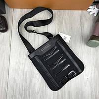 Брендовая женская сумка-планшетка Bikkembergs черная через плечо текстиль кожа PU унисекс Биккембергс реплика, фото 1