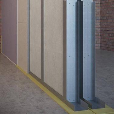 Звукоизоляционная каркасная перегородка на двойном каркасе 2х100 мм, фото 2