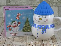 Новогодняя кружка снеговик с крышкой 350 мл ( новогодняя чашка )
